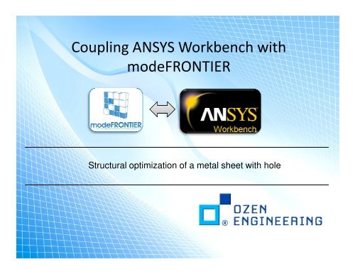 2 Coupling ANSYS Workbench with modeFRONTIER pdf - Ozen