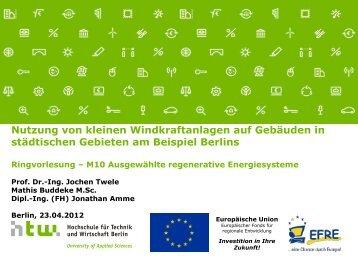 Nutzung von kleinen Windkraftanlagen auf Gebäuden in städtischen ...