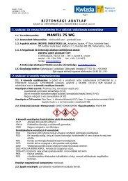 Biztonságtechnikai adatlap (Manfil 75 WG) - Kwizda