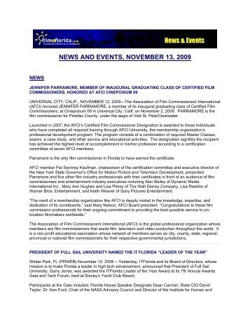NEWS AND EVENTS, NOVEMBER 13, 2009 - Film In Florida