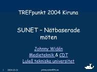 SUNETs Nätmötesverksamhet - SUNET-projekt mm