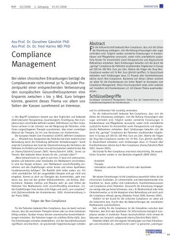 Compliance Management - European Health Care Foundation