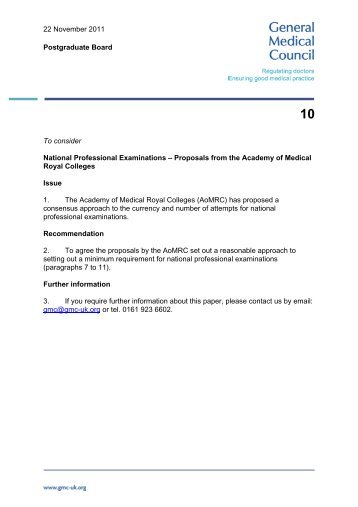National Professional Examinations - Proposals from the Academy
