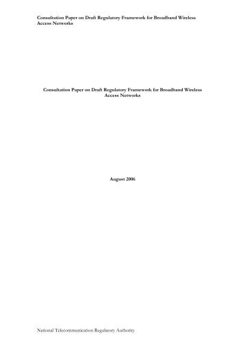 Consultation Paper on BWA Framework