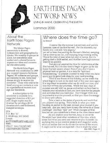 Lammas 2000 - EarthTides Pagan Network