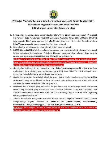 Prosedur Pengisian Dan Formulir Ukt Usu Jalur Snmptn 2014