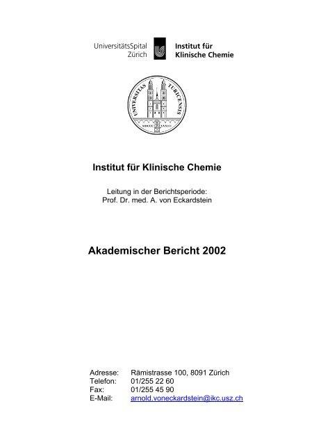 Akademischer Bericht 2002 - Institut für Klinische Chemie ...