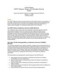 Call for Papers CERT Software, System and Information Security ...