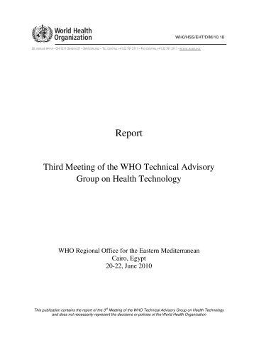 Third Meeting of the WHO Technical Advisory Group on Health ...