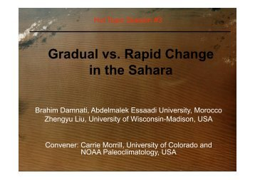 Gradual vs. Rapid Change in the Sahara - PAGES