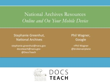 National Archives Resources Online and On Your Mobile Device