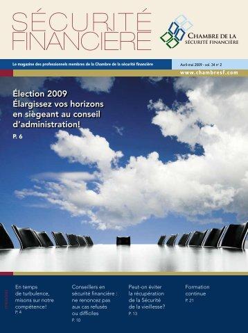 Avril-mai 2009 - vol. 34 no 2 - Chambre de la sécurité financière