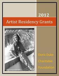 Artist Residency Grants - Doris Duke Charitable Foundation