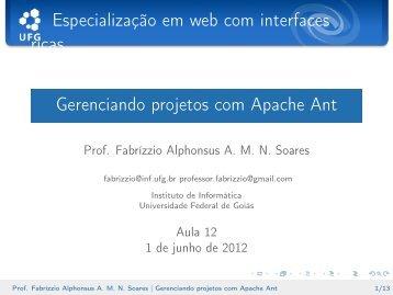 Gerenciando projetos com Apache Ant - Instituto de Informática - UFG