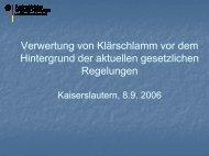 Verwertung von Klärschlamm vor dem Hintergrund der aktuellen ...
