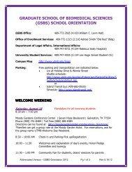 2012 GSBS Orientation - The Graduate School of Biomedical Sciences