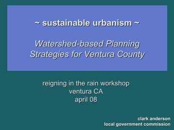Sustainable Urbanism--Watershed-Based Planning Strategies for ...