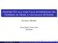 Proprietăţi ale punctului intermediar din teorema de medie a ...