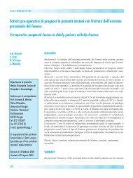 Fattori pre-operatori di prognosi in pazienti anziani con frattura dell ...