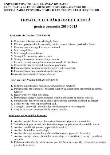 Tematica licenţă ECTS 2013 - Universitatea George Bacovia
