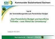 """Kommunaler Sozialverband Sachsen """"Das Persönliche Budget und ..."""