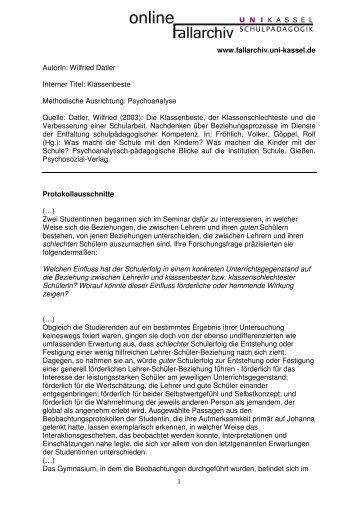 Wilfried Datler Interner Titel: Klassenbeste Methodische Ausrichtung