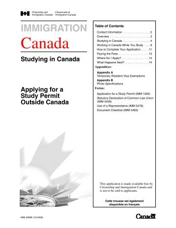 Applying for a Study Permit outside Canada - Education Canada ...