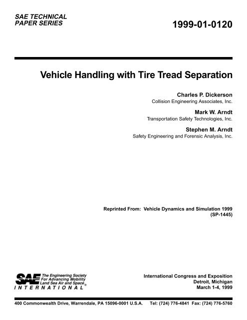 Vehicle Handling with Tire Tread Separation - Transportation Safety