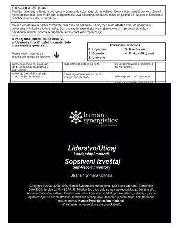 L/I primer upitnika - Human Synergistics Srbija
