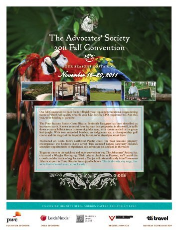 The Advocates' Society 2011 Fall Convention