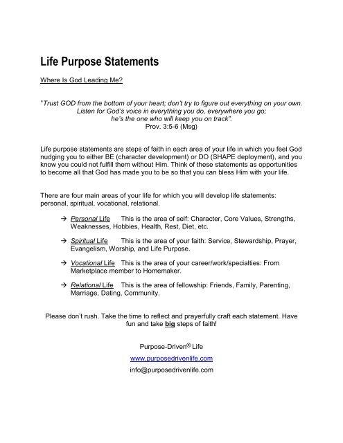 Sample Life Purpose Statements