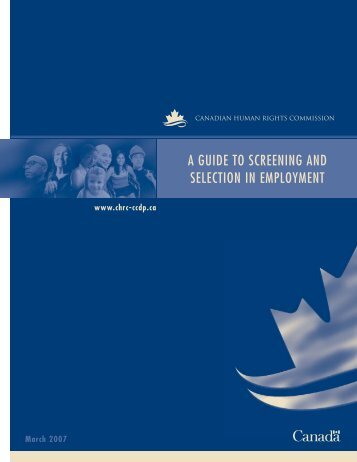 a guide to screening and selection in employment - Hireimmigrants.ca