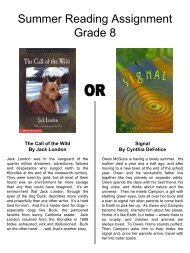 Summer Reading Assignment Grade 8 - Moon Area School District