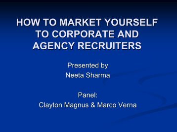 How to Market Yourself to Corporate and Agency Recruiters - gt islig