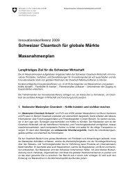 Schweizer Cleantech für globale Märkte Massnahmenplan
