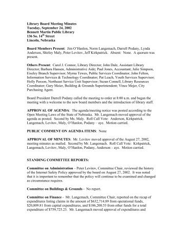 Library Board Meeting Minutes - Lincoln City Libraries