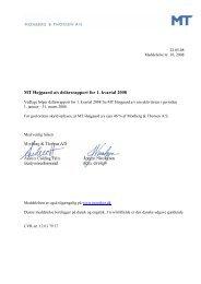 MT Højgaard a/s delårsrapport for 1. kvartal 2008 - Monberg ...