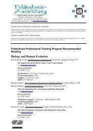 Biology and Human Evolution - Feldenkrais-Ausbildung