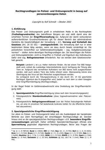 Rechtsgrundlagen im Polizei- und Ordnungsrecht in bezug auf ...