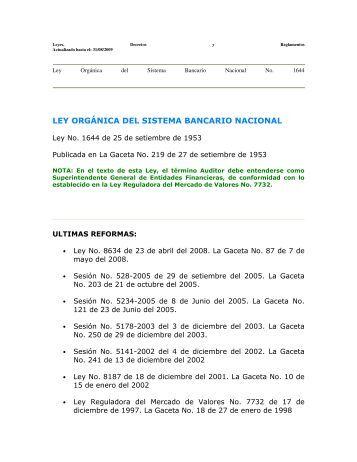 LEY ORGÁNICA DEL SISTEMA BANCARIO NACIONAL - Felaban