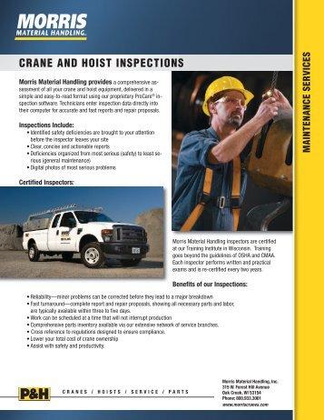 CRANE AND HOIST INSPECTIONS - Morris Material Handling