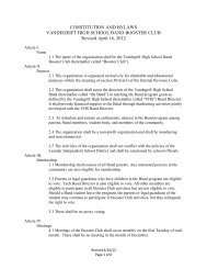 Official Booster Club Bylaws - VHS Band