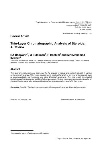 Thin-Layer Chromatographic Analysis of Steroids: A Review