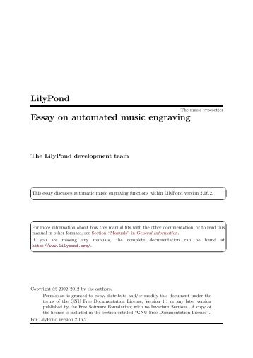 LilyPond Essay on automated music engraving