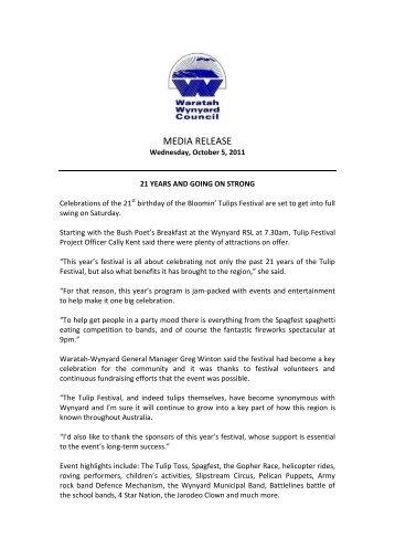 Media Release - Tulip Festival - Waratah-Wynyard Council