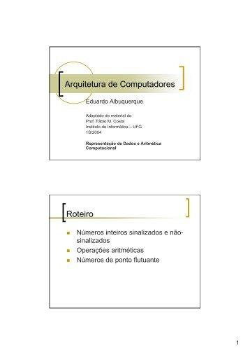 Arquitetura de Computadores Roteiro - Instituto de Informática - UFG