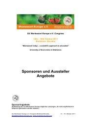 Sponsoren und Aussteller Angebote - Montessori Europe