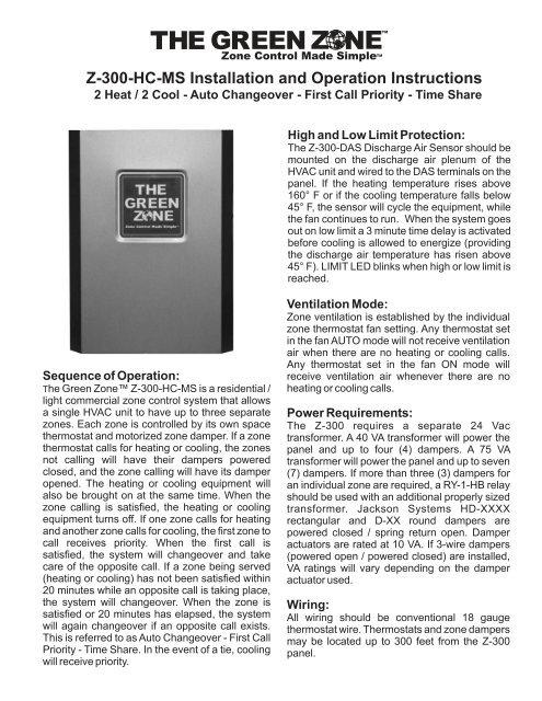 jackson hvac zone wiring diagram z 300 hc ms installation and operation jackson systems  z 300 hc ms installation and operation