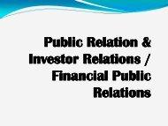 Public Relation & Public Relation & Investor Relations / Financial ...
