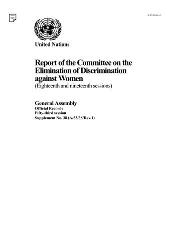 Report of the Committee on the Elimination of Discrimination ...